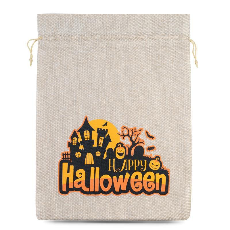 1 stuk Zakjes Halloween 1 / jute 30 x 40 cm - lichte natuurlijke kleur