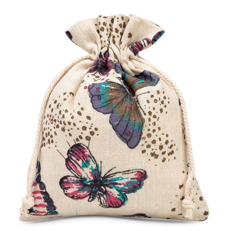 1 stuk Linnen zakje met print 18 x 24 cm - natuurlijk / vlinder