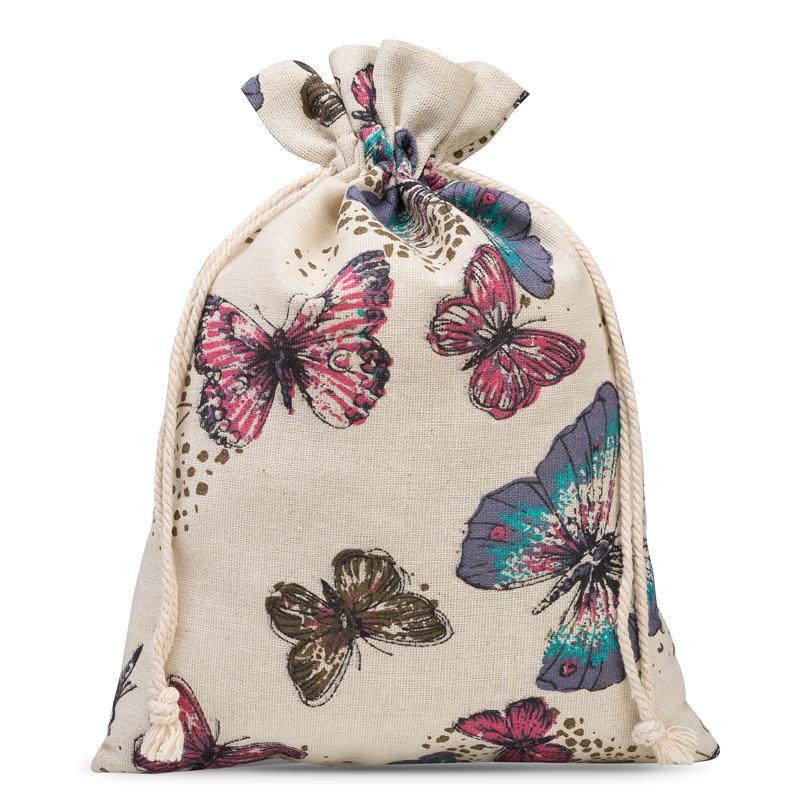 1 stuk Linnen zak met print 30 x 40 cm - natuurlijk / vlinder