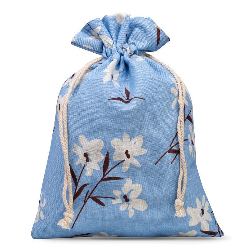 1 stuk Linnen zakje met print 22 x 30 cm - natuurlijk / blauwe bloemen