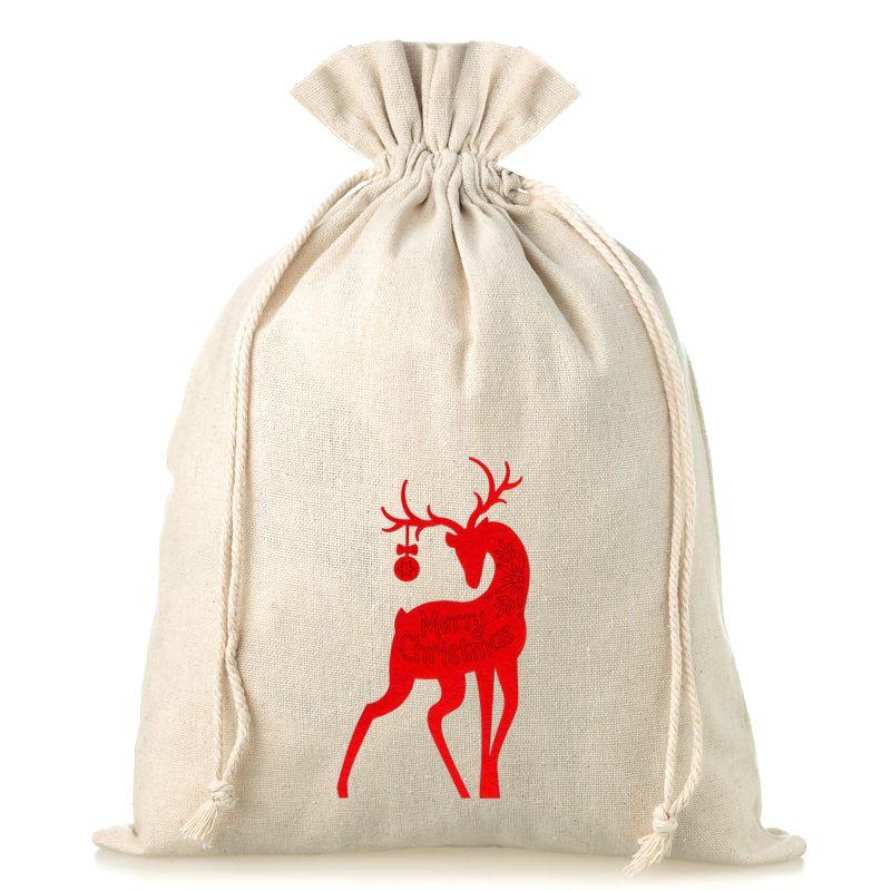 1 stuk Linnen zakje 30 x 40 cm - Kerstmis - Hert