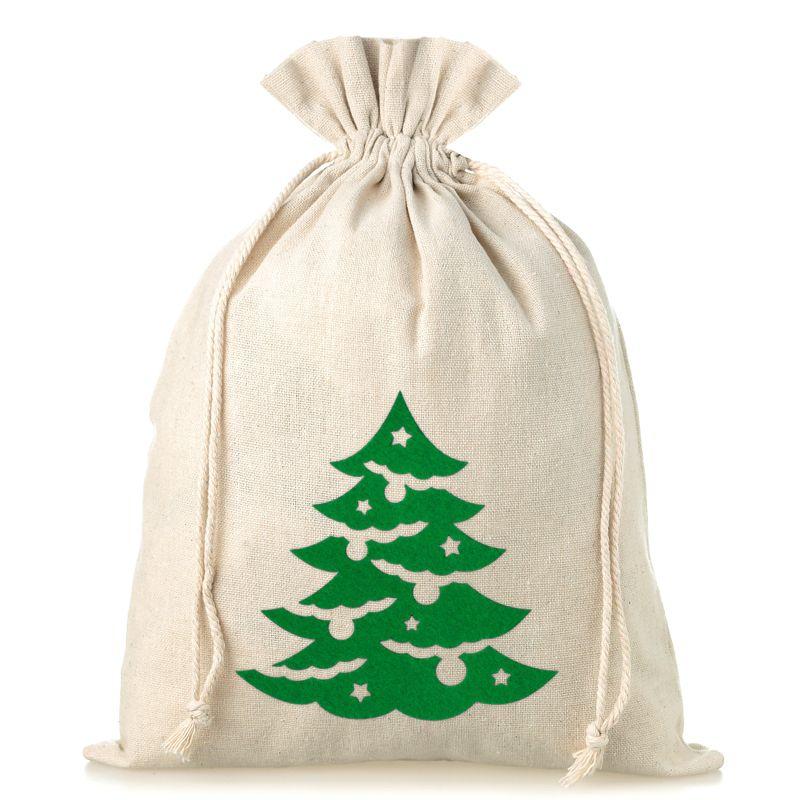 1 stuk Linnen zakje 26 x 35 cm - Kerstmis - Kerstboom