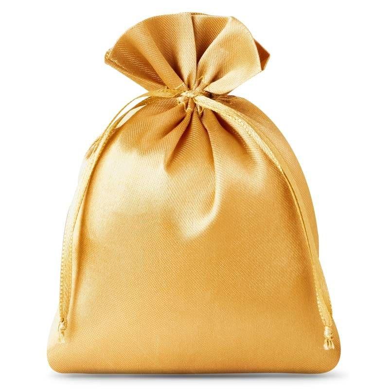 10 stuks Satijnen zakjes 6 x 8 cm - goud