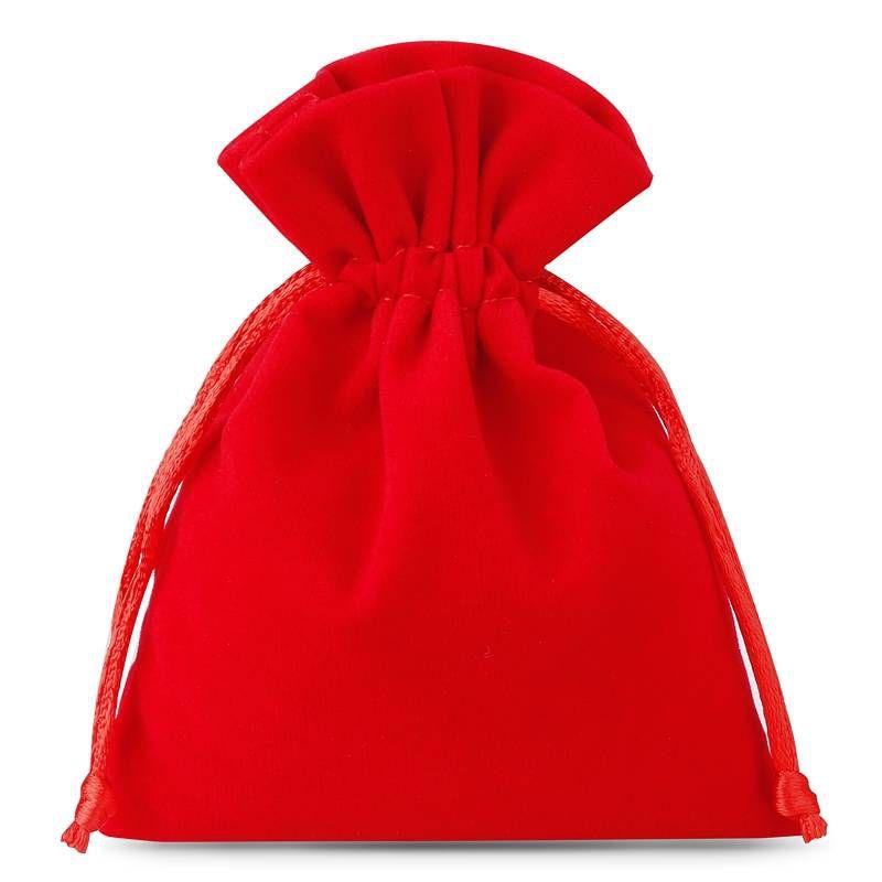10 stuks Fluwelen zakjes 6 x 8 cm - rood