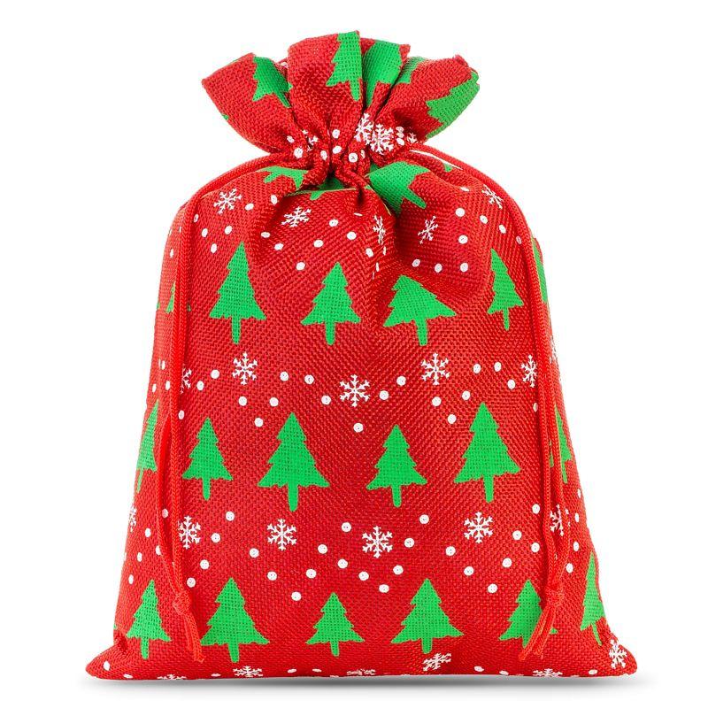 1 stuk Jute zak 30 x 40 cm - rood / kerstboom
