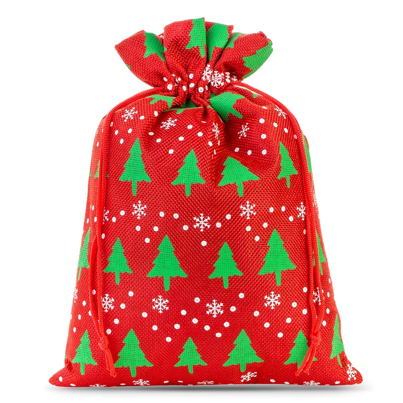 1 stuk Jute zakje 30 x 40 cm - rood / kerstboom