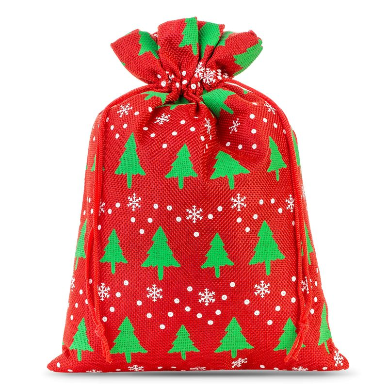 1 stuk Jute zakje 40 x 55 cm - rood / kerstboom