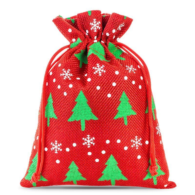5 stuks Jute zakjes 18 x 24 cm - rood / kerstboom