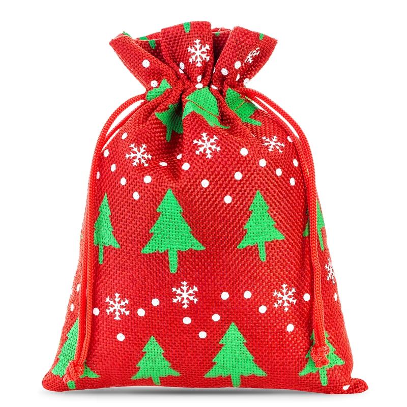 3 stuks Jute zakjes 22 x 30 cm - rood / kerstboom