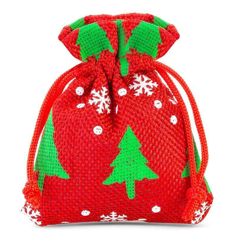 10 stuks Jute zakjes 8 x 10 cm - rood / kerstboom