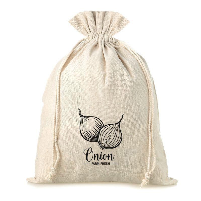 1 stuk Linnen zak met print 30 x 40 cm - voor uien (EN)