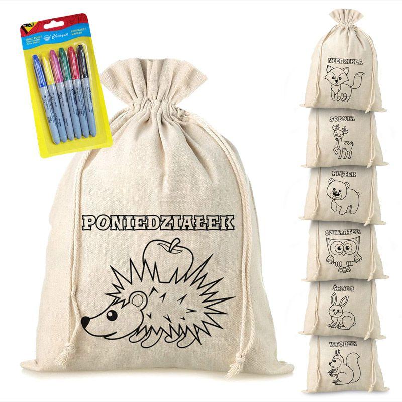 7 stuks Linnen zakken met print 30 x 40 cm - kleurboek met viltstiften