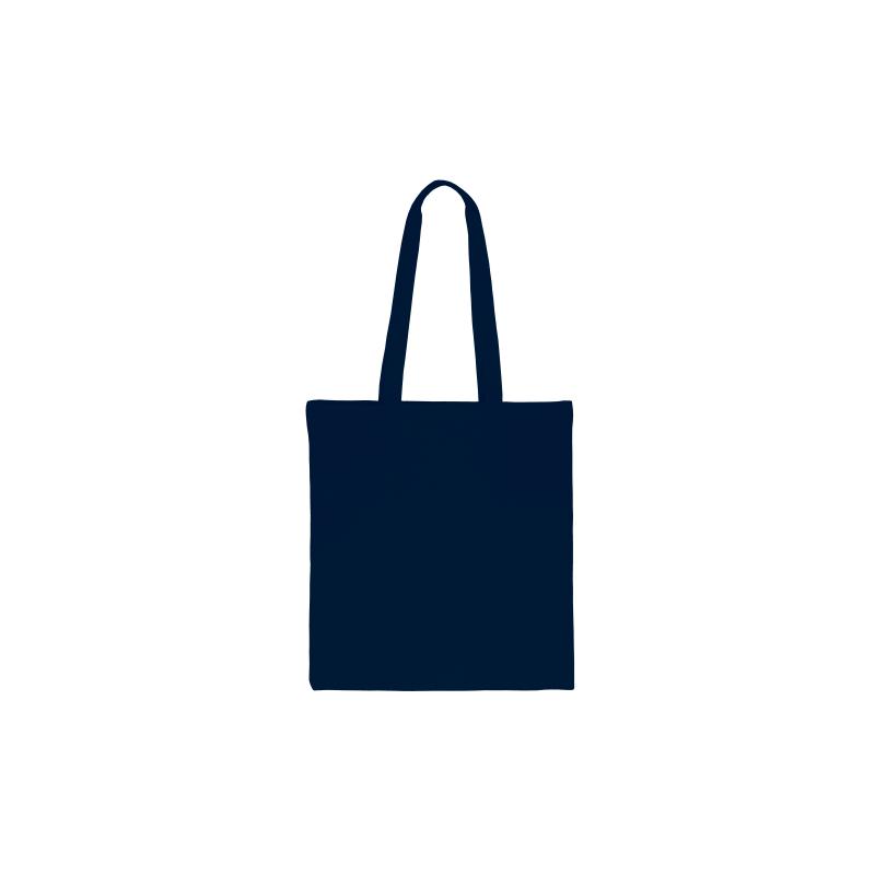 1 st. Een katoenen zak van 38 x 42 cm met lange hengsels marineblauw