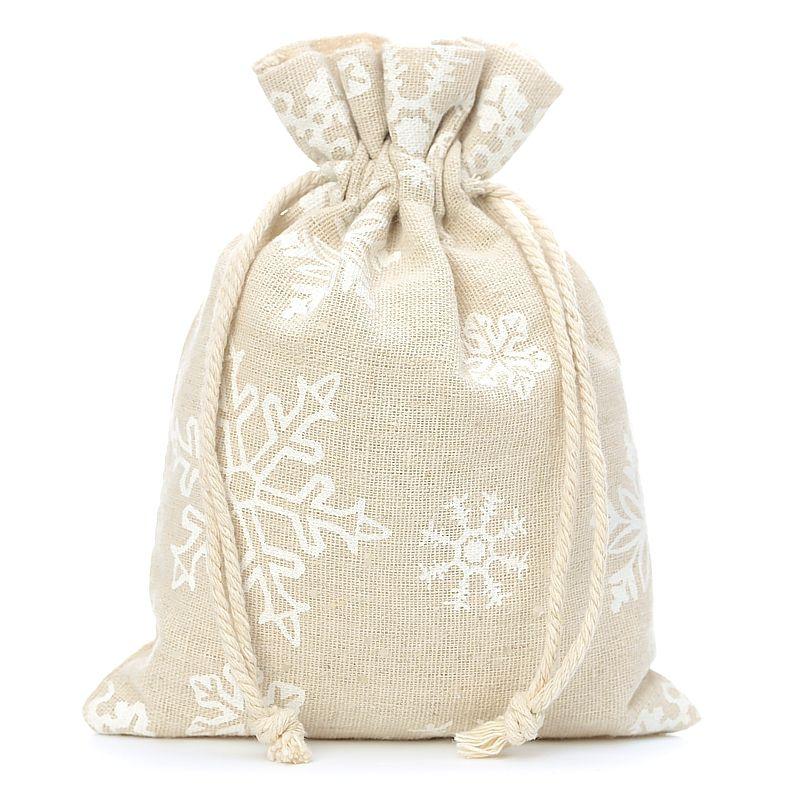 10 stuks Linnen zakjes met print 15 x 20 cm - natuurlijke kleur / sneeuw