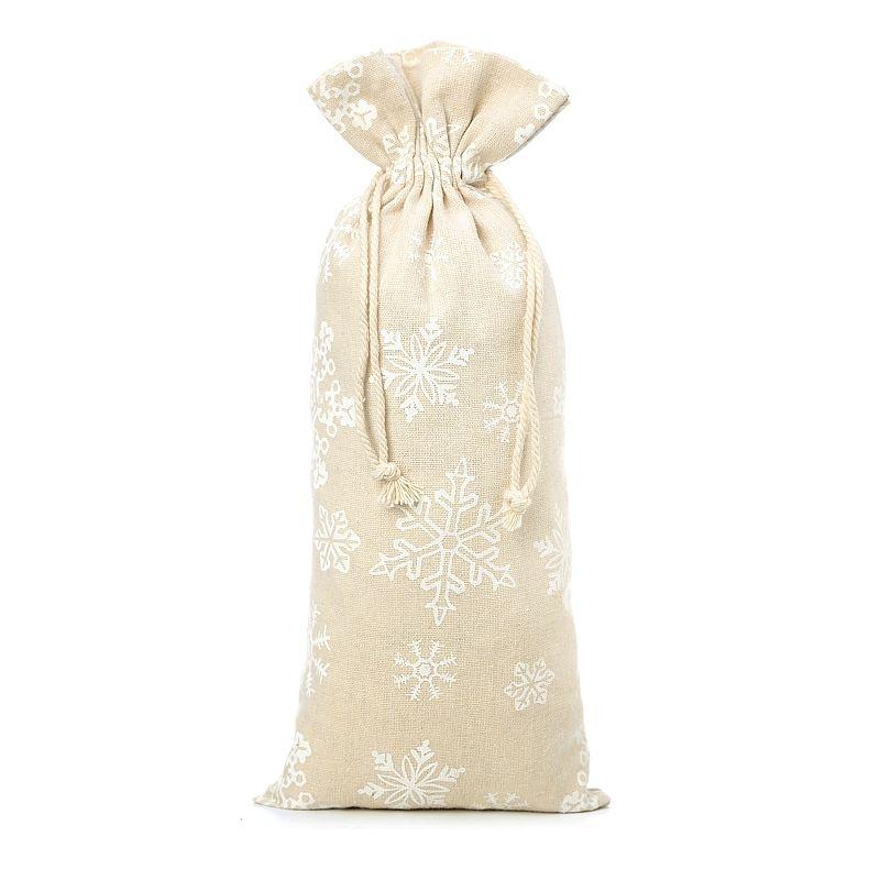1 stuk Linnen zakje met print 16 x 37 cm - natuurlijke kleur / sneeuw
