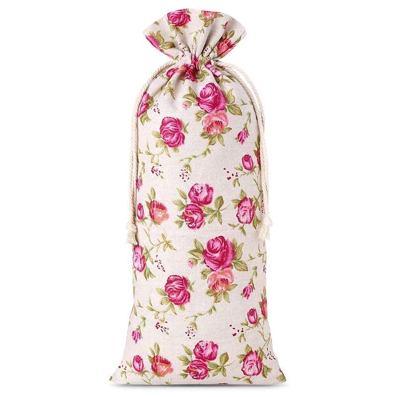 1 stuk Linnen zakjes met print 16 x 37 cm - natuurlijke kleur / rozen