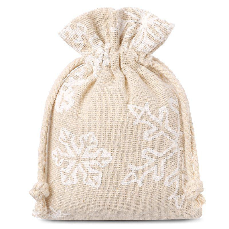 10 stuks Linnen zakjes met print 9 x 12 cm - natuurlijke kleur / sneeuw