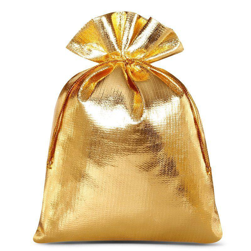 10 stuks Metaalachtige zakjes 12 x 15 cm - goud metallic