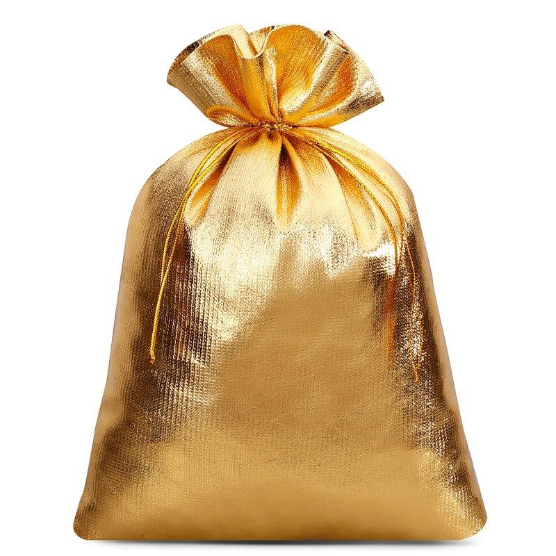 5 stuks Metaalachtige zakjes 22 x 30 cm - goud metallic