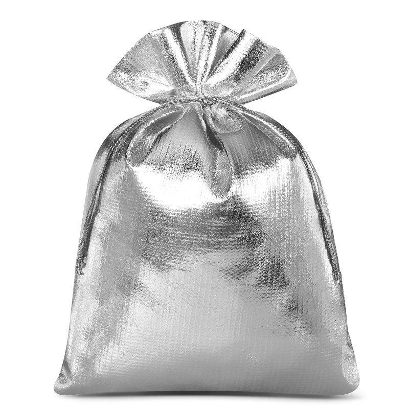 10 stuks Metaalachtige zakjes 13 x 18 cm - zilver metallic