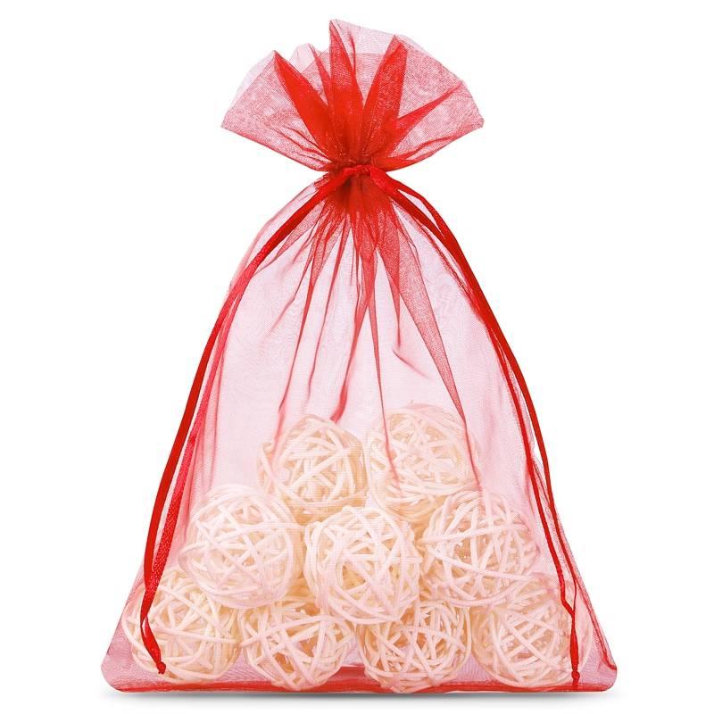 Organza bags 12 x 15 cm (25 pcs) - red Ozdobne Woreczki z organzy