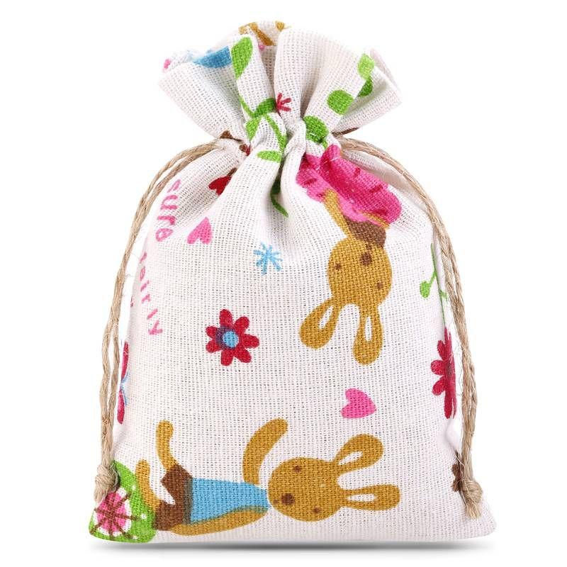 1 stuk Linnen zakje met print 11 x 14 cm - natuurlijke kleur / konijn