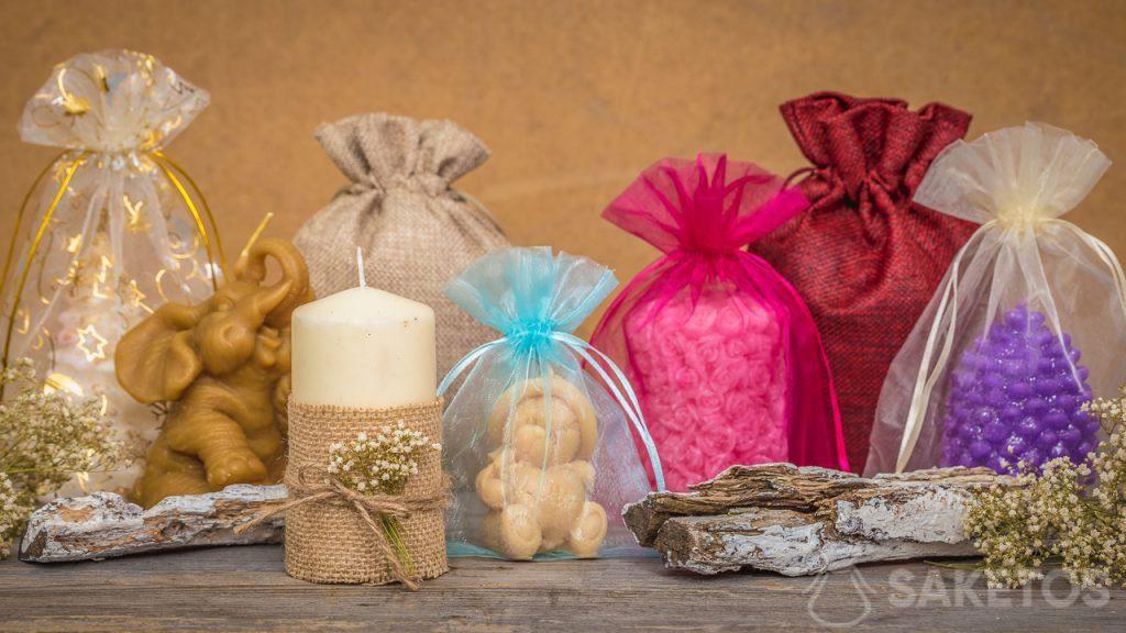 Geschenkzakjes passen ideaal bij handgemaakte kaarsen
