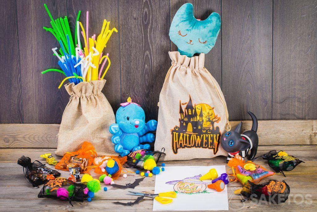 Met deze geschenkzakjes kan je op eenvoudige manier de Halloween kamer van Uw kinderen te versieren.