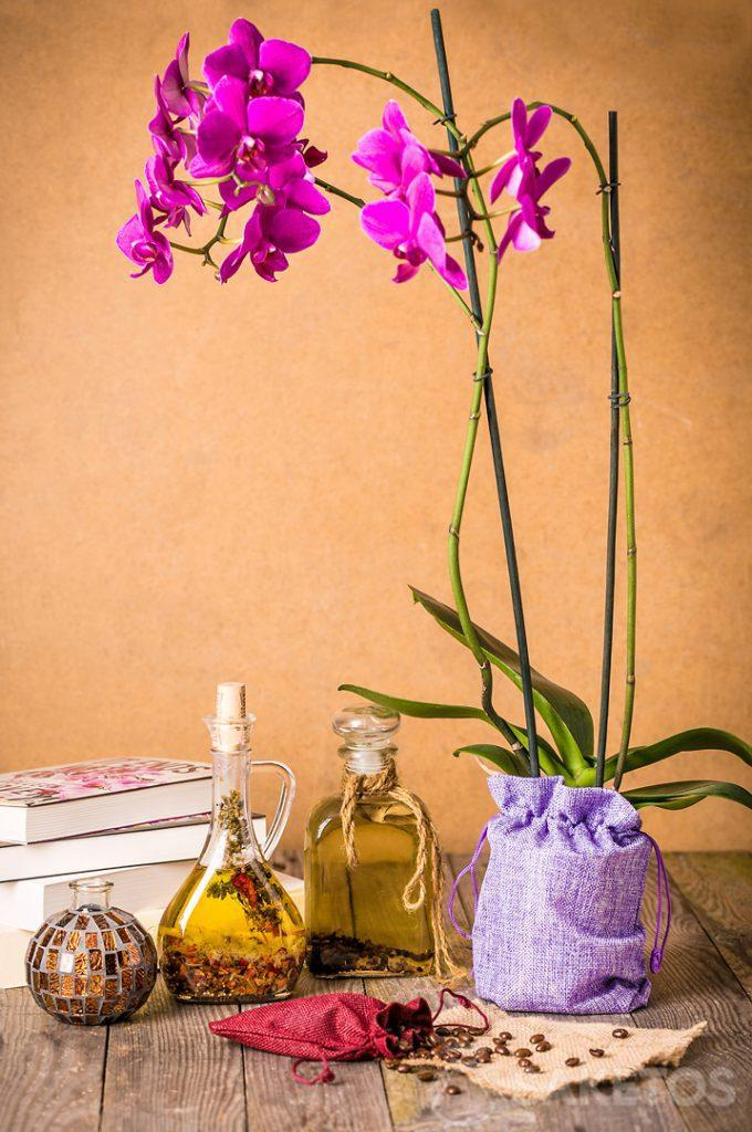 Een orchidee verpakt in een decoratief jute zakje