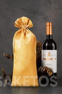 Een zakje in formaat 16 x 37 cm voor een fles wijn